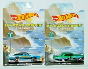 HOT WHEELS ROAD TRIPPIN HIGHWAY 1 LOT OF 2 1969 DODGE CHARGER & 1966 CHEVY NOVA