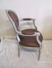 VINTAGE FRENCH BURGUNDY LEATHER - PAINTED ARMCHAIR - (11754)