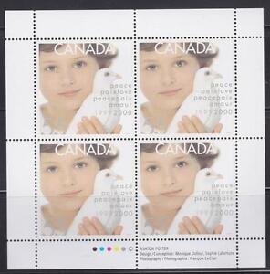 CANADA 1999 Pane of 4 - 55¢ #1813 Millenium Issue (Dove & Child) - MNH