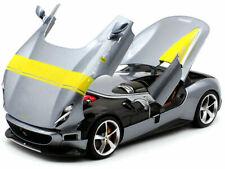 FERRARI MONZA SP1 SILVER W/YELLOW STRIPES 1:18 DIECAST MODEL CAR BBURAGO 16013