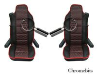 Black Pu Leather & Premium Fabric Luxury Seat Covers For Volvo Fh12 Fh16 Fl Fm