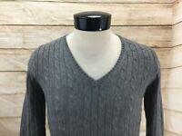 J Crew V-Neck Sweater Women's M Gray Cable Knit Cashmere Angora Blend