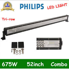 52'' 675W 7D+ LED WORK LIGHT BAR Offroad Driving Combo 4WD Tri Row 300W PHILIPS