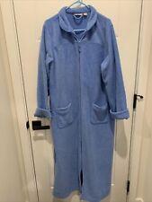 LL Bean Women's Robe Size XL Light Blue Fleece Long Robe Full Zip Long Pockets