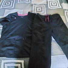womens scrubs black top/medium bottom with pink detail