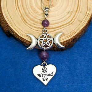 Wicca Triple Moon Blessed Be Handmade Silver Tone & Amethyst Pendant Necklace