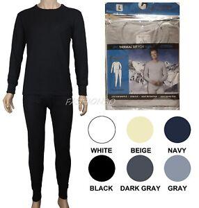 Men's Thermal Pajama 2 Piece Set 100% Cotton Comfortable Warm Sizes S-2XL New