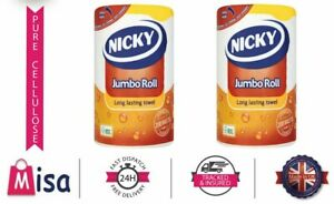 Nicky Jumbo Kitchen Towels 12 Rolls 200 Sheets Per Roll Strong Absorbent