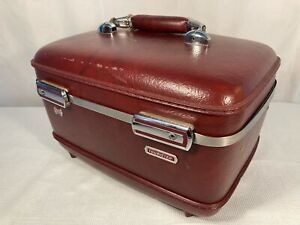 American Tourister train case carry on luggage suitcase traincase with Key 14x9.5x9 inches vintage luggage dark red