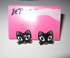 BETSEY JOHNSON RARE VAMPIRE SLAYER BLACK CAT STUD EARRINGS