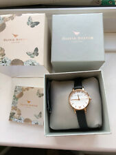 Olivia Burton Ladies Black Leather Strap White and Rose Gold Watch USED