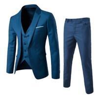 3 Pcs Mens One Button Blazer Suit Lapel Collar Coat Slim Jacket Vest And Pants 5