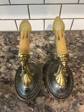 Matched Wired Pair Antique Vintage Wall Sconce Fixtures BRASS 9E