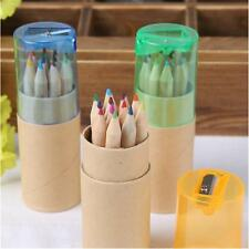 12pcs/Set Drawing Colouring Painting Pencils Kit Pens Kids Best Gifts SharpeneH