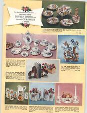 1960 PAPER AD Sphinx Imported Ceramics China Tea Set Pitcher Chintz TV Snack Set
