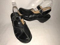 Pikolinos Women's Size 8.5M Black Leather Ankle Strap Mary Janes Shoes Clogs