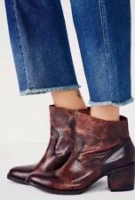 NEW Free people X Freebird by Steven Madden Salt Leather Ankle Boots Cognac Sz 8