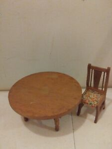 Miniature DollHouse Furniture Primative Wood Dining table with with one chair