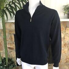 Pierre Balmain VTG Men's Navy Blue LS Pullover 1/4 Zip Wool Sweater Sz 52 ITALY