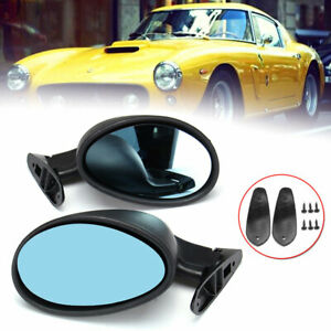 2x Universal Classic Car Door Side Mirror Hot Rod Vintage Black L+R Replacement