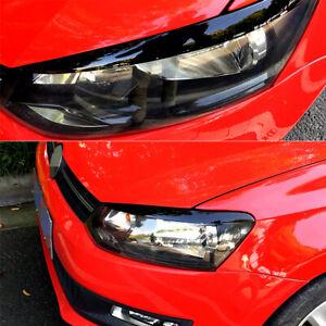 Gloss Black Headlight Eyebrow Eyelid Cover For Volkswagen Polo MK5 2011-2018