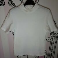 Size 12 Rosalie Classics White Textured Short Sleeve Stretch T-Shirt Top Retro