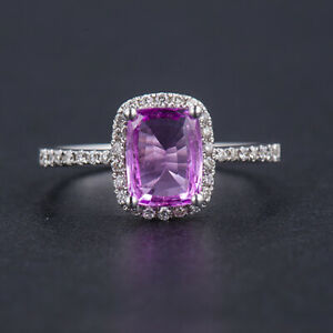 Cushion 8x6mm Pink Sapphire Natural Diamond Halo Ring Solid 14K White Gold