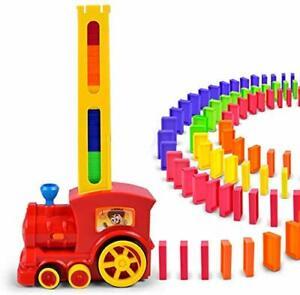QKFON Domino Rally Electronic Train Model Colorful Toy Set Girl Boy Children