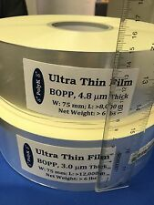 Ultrathin Polypropylene BOPP Film 3.0 um, 75 mm wide, 280 mm long paper size