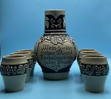 Vintage Geritz Gerz West Germany Pottery Wine Pitcher And 6 Cups in blue Accents
