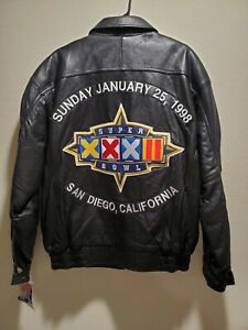 Denver Broncos Carl Banks G-III Super Bowl XXXII Leather Jacket Size L NFL w/Tag