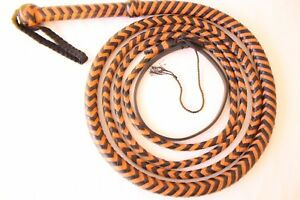Genuine Cow Hide Leather 12 Feet Long,12 Plaited BullWhip , Heavy Duty Whip