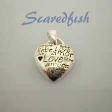 """925 Sterling Silver heart pendant decorated with a message of """"Love"""" w jump ring"""