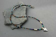 "Indian Arrowhead Necklace Sterling Silver 20"" Beadwork Bead Beaded Hand Made"