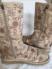 Ugg Signature Embroidery Logo Print Zip Up Boots Womens Sheepskin
