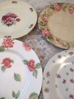 Set of 10 Vintage Mismatched China Salad Plates  Pink Roses #88