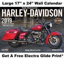 "2019 Harley Davidson Large Wall Calendar 17"" x 24"" w Free Bonus Motorcycle Print"