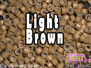LIGHT BROWN Silicone Micro Rings Beads for Hair Extensions