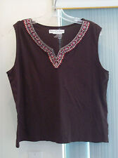 Behind the Seams Brown Short Sleeve Blouse Size XL 100% Cotton