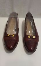 Salvatore Ferragamo Boutique Shoes Women's 7 AAA Cap Toe Faux Alligator Italy