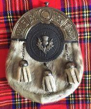 New Full Dress Kilt Sporran Formal Seal Skin Celtic Cantle Thistle Crest Antique