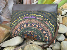 Classic Leather Handmade Embroidered Hippie Vintage Boho Tribal Brown Clutch Bag