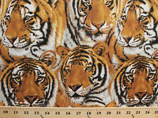 Tigers Faces Packed Animal Mammal Cat Cotton Fabric Print by the Yard D582.40