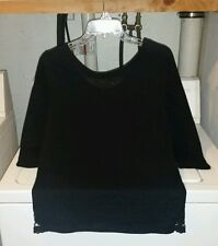 AERIE Black Cotton Blend 3/4 Sleeve Crochet Side Hem Sweater Top Small NWOT