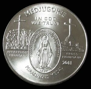 2011 SILVER 1oz MEDJUGORJE QUEEN OF PEACE MIRACULOUS MEDAL