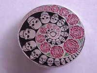 10 GRATEFUL DEAD DEAD HEAD   SPIRAL SKULL AND ROSES 1 3/4 inch  CLOISSONE  PIN