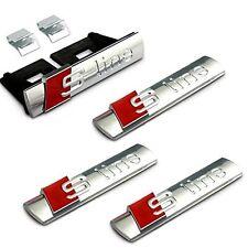 4PCS SLINE S LINE GRILL EMBLEM METAL FOR AUDI 1PC GRILLE BADGE & 3PCS STICKER