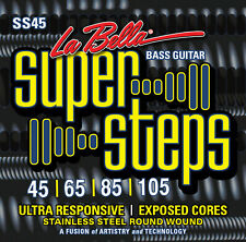 LA BELLA SS45 SUPER STEPS STAINLESS STEEL BASS STRINGS, MEDIUM 4's  45-105