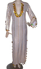 Egyptian Belly Dance Baladi Galabeya Performance Dress Costume White& Gold