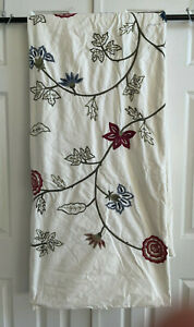POTTERY BARN Duvet Cover Queen Full Floral Flower Embroidery Crewel Cotton Ivory
